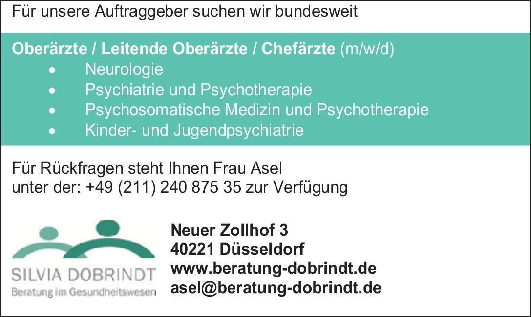 Silvia Dobrindt Beratung im Gesundheitswesen Oberärzte / Leitende Oberärzte / Chefärzte (m/w/d)  Psychiatrie und Psychotherapie, Neurologie, Psychiatrie und Psychotherapie Ärztl. Leiter, Chefarzt, Oberarzt