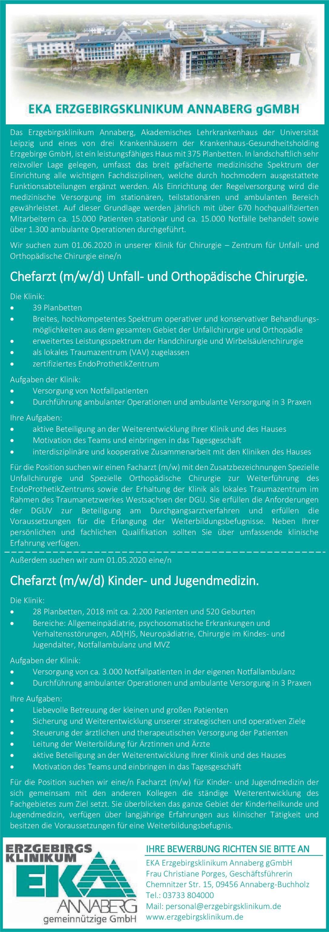 EKA Erzgebirgsklinikum Annaberg gGmbH Chefarzt (m/w/d) Unfall- und Orthopädische Chirurgie  Orthopädie und Unfallchirurgie, Chirurgie Chefarzt