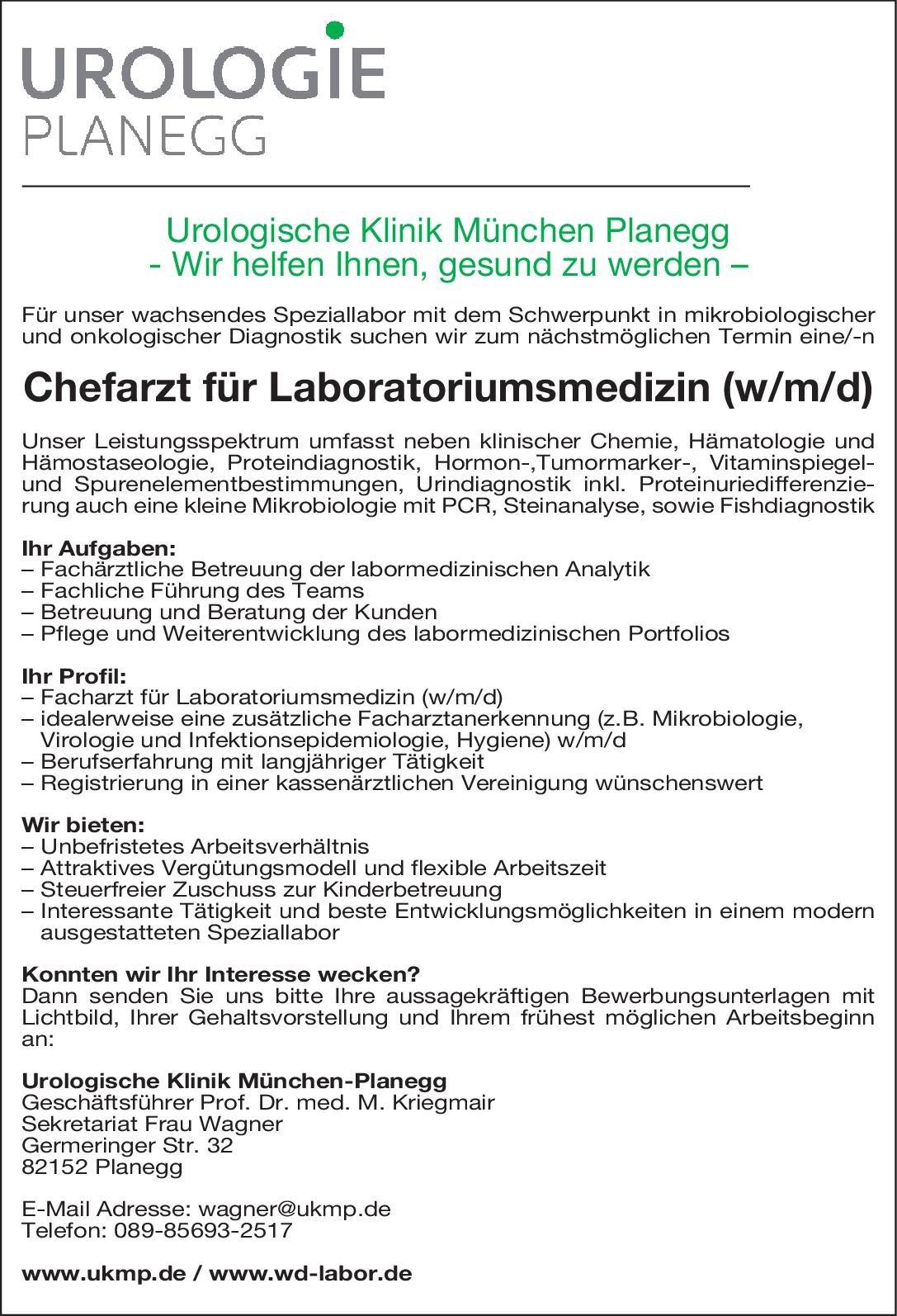 Urologische Klinik München-Planegg Chefarzt für Laboratoriumsmedizin (w/m/d) Laboratoriumsmedizin Chefarzt