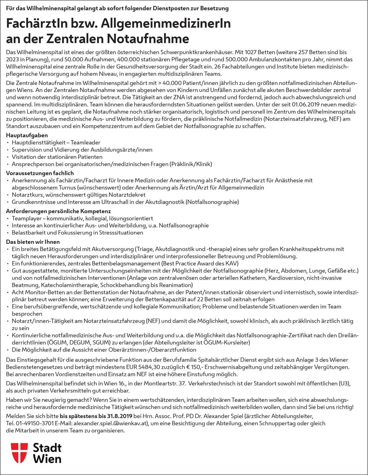 Wilhelminenspital - Stadt Wien FachärztIn bzw. AllgemeinmedizinerIn an der Zentralen Notaufnahme Allgemeinmedizin, Notfallmedizin Arzt / Facharzt, Assistenzarzt / Arzt in Weiterbildung