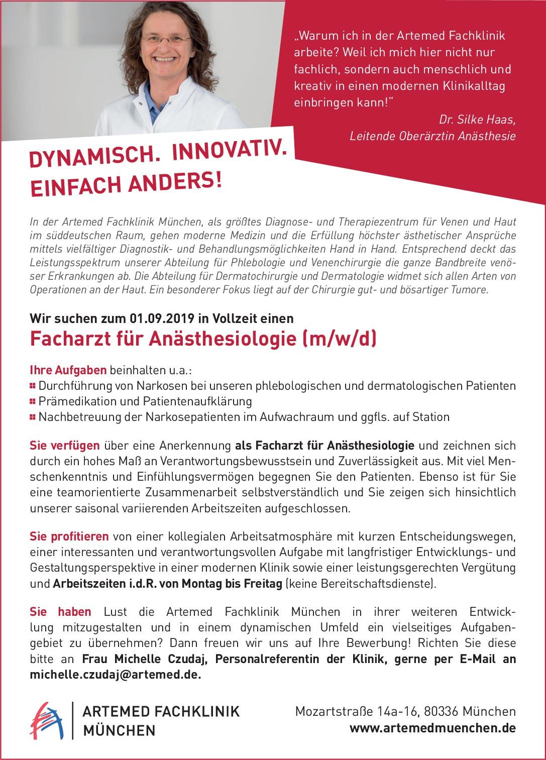 Artemed Fachklinik München Facharzt für Anästhesiologie (m/w/d) Anästhesiologie / Intensivmedizin Arzt / Facharzt