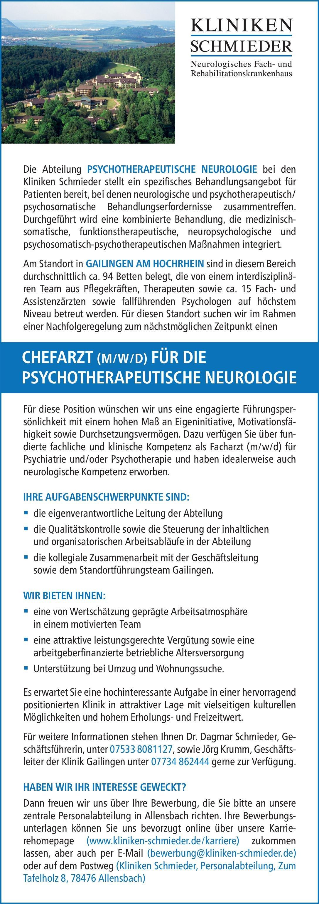 Kliniken Schmieder Chefarzt (m/w/d) für die Psychotherapeutische Neurologie  Psychiatrie und Psychotherapie, Neurologie, Psychiatrie und Psychotherapie Chefarzt