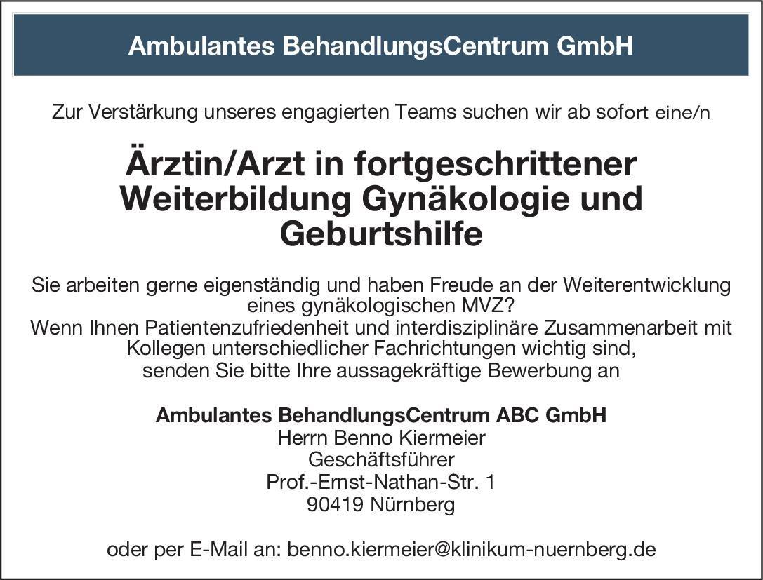 Ambulantes BehandlungsCentrum ABC GmbH Ärztin/Arzt in fortgeschrittener Weiterbildung Gynäkologie und Geburtshilfe  Frauenheilkunde und Geburtshilfe, Frauenheilkunde und Geburtshilfe Assistenzarzt / Arzt in Weiterbildung