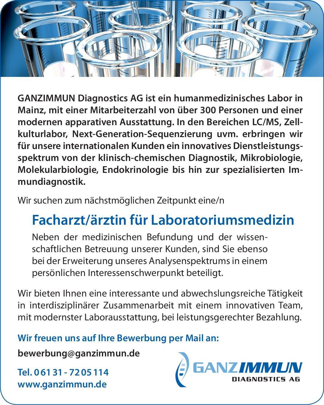 GANZIMMUN Diagnostics AG Facharzt/ärztin für Laboratoriumsmedizin Laboratoriumsmedizin Arzt / Facharzt