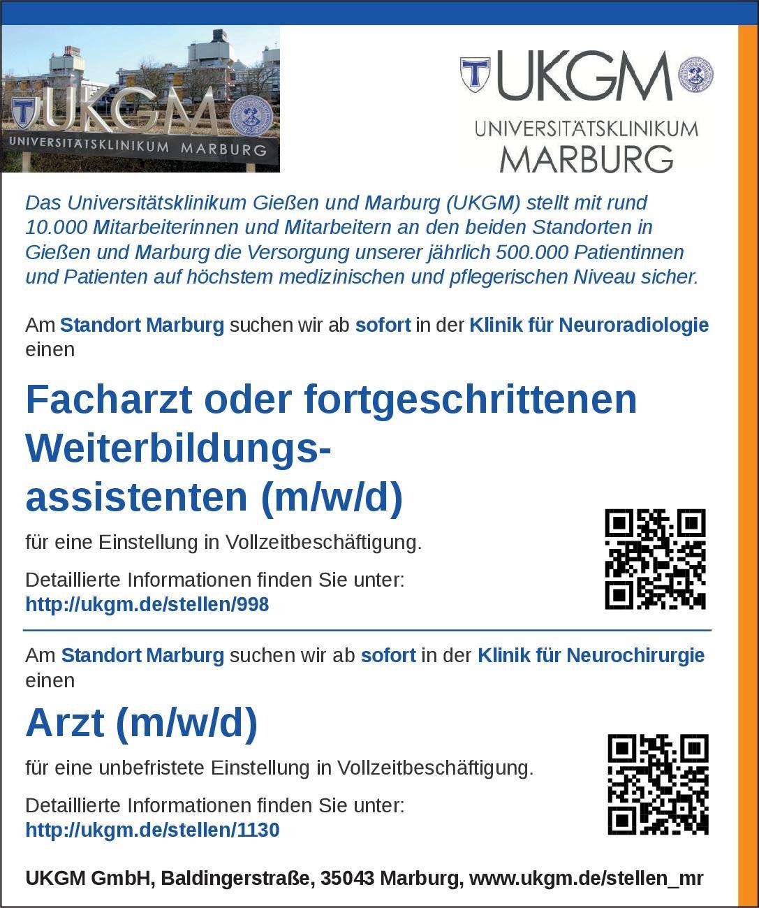 Universitätsklinikum Gießen und Marburg Arzt (m/w/d)/ Assistenzarzt Neurochirurgie Neurochirurgie Arzt / Facharzt, Assistenzarzt / Arzt in Weiterbildung