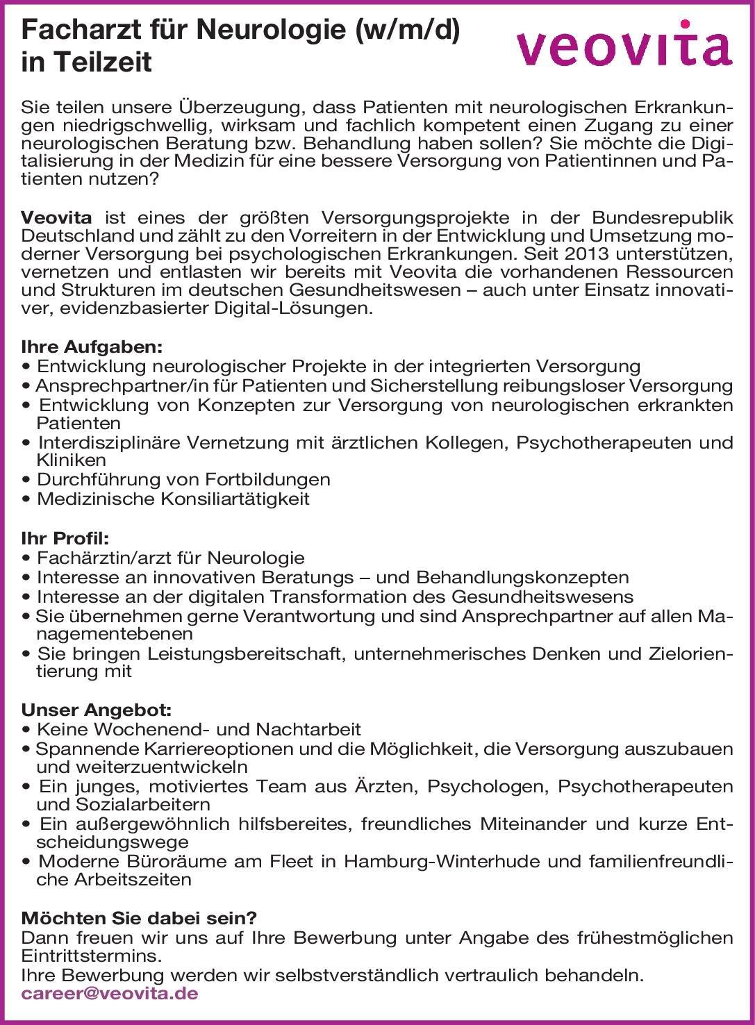 Veovita Facharzt für Neurologie (w/m/d) Neurologie Arzt / Facharzt