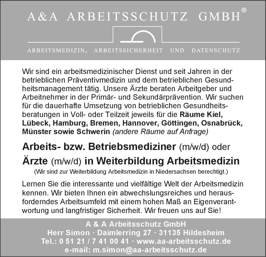 A & A Arbeitsschutz GmbH Arbeits- bzw. Betriebsmediziner (m/w/d) oder Ärzte (m/w/d) in Weiterbildung Arbeitsmedizin Arbeitsmedizin Arzt / Facharzt, Assistenzarzt / Arzt in Weiterbildung, Betriebsarzt