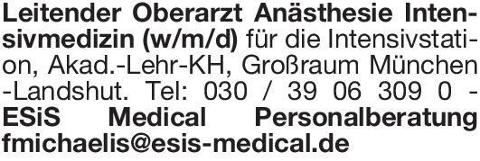 ESIS Medical Leitender Oberarzt Anästhesie Intensivmedizin (w/m/d) Anästhesiologie / Intensivmedizin Ärztl. Leiter, Oberarzt