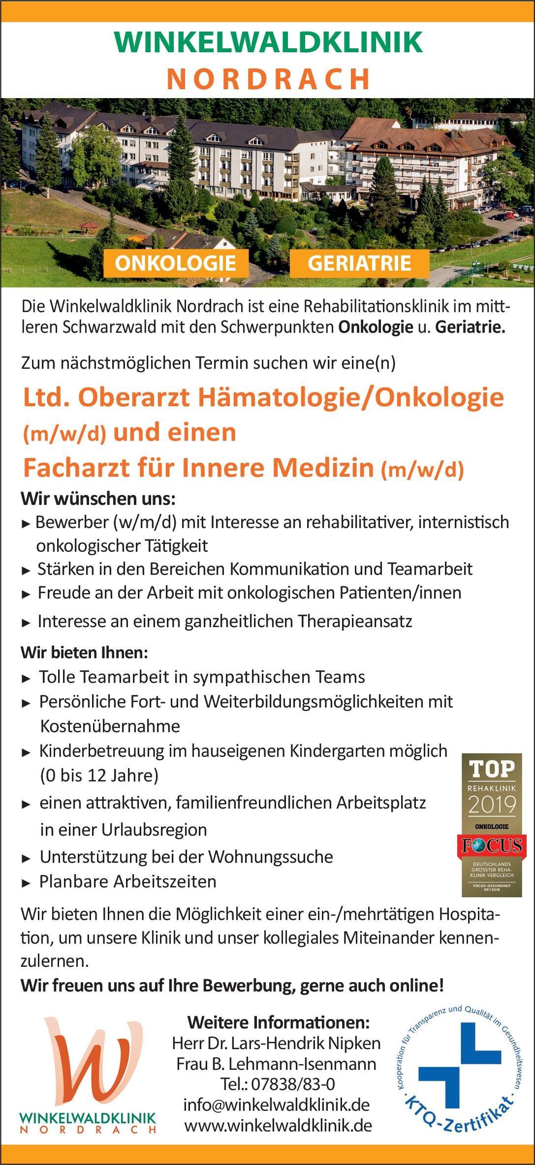Winkelwaldklinik Nordrach Facharzt für Innere Medizin (m/w/d)  Innere Medizin, Geriatrie, Innere Medizin Arzt / Facharzt