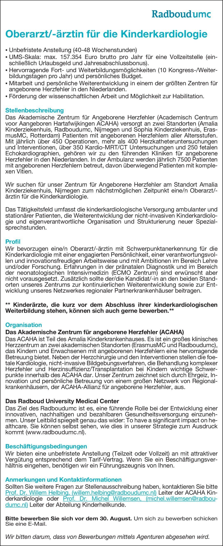 Das Akademische Zentrum für angeborene Herzfehler (ACAHA) Oberarzt/-ärztin für die Kinderkardiologie  Kinderkardiologie, Kinder- und Jugendmedizin Oberarzt