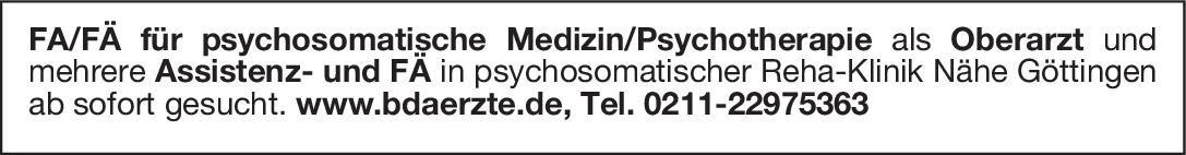 Reha-Klinik FA/FÄ für psychosomatische Medizin/Psychotherapie als Oberarzt Psychosomatische Medizin und Psychotherapie Oberarzt