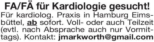 Praxis FA/ FÄ Kardiologie  Innere Medizin und Kardiologie Arzt / Facharzt