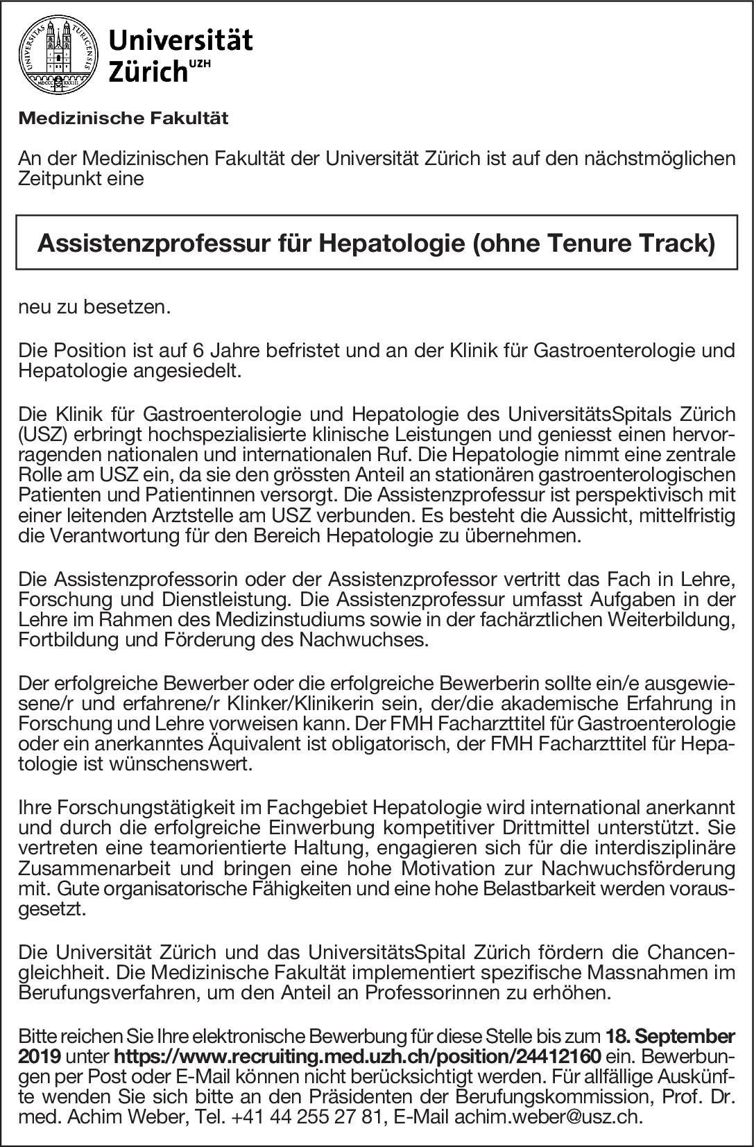 Universität Zürich Assistenzprofessur für Hepatologie (ohne Tenure Track)  Innere Medizin und Gastroenterologie, Innere Medizin Professor