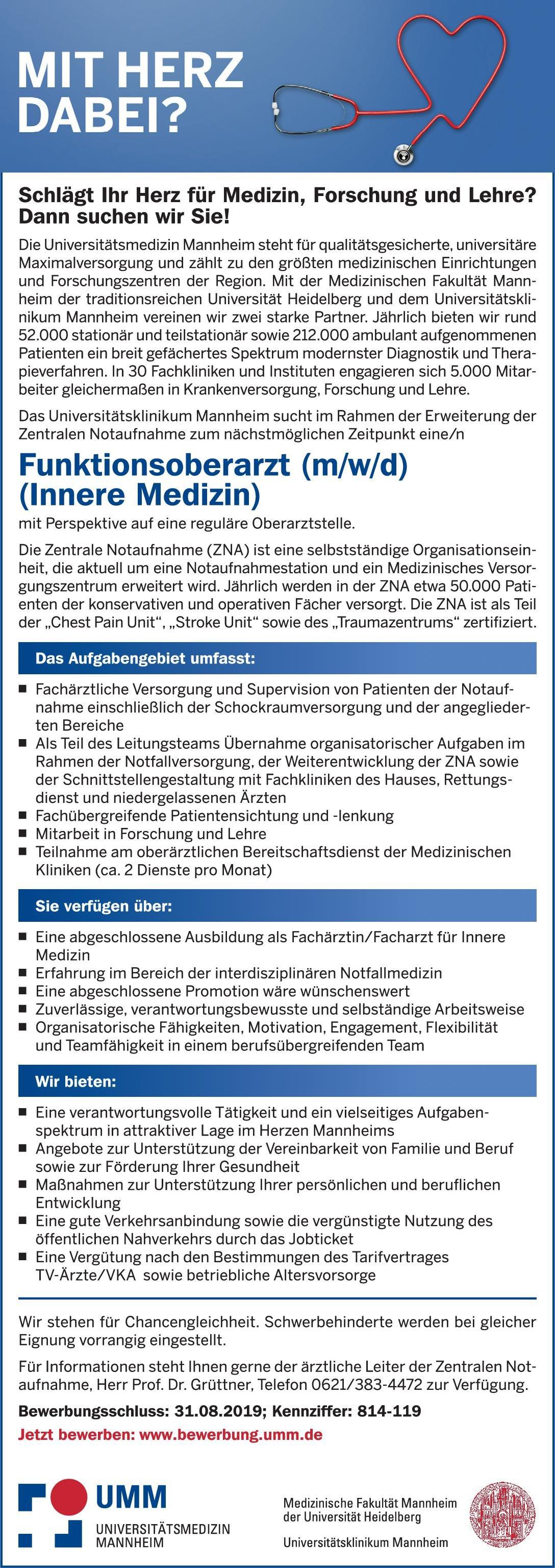 Universitätsklinikum Mannheim Funktionsoberarzt (m/w/d) (Innere Medizin)  Innere Medizin, Innere Medizin Oberarzt