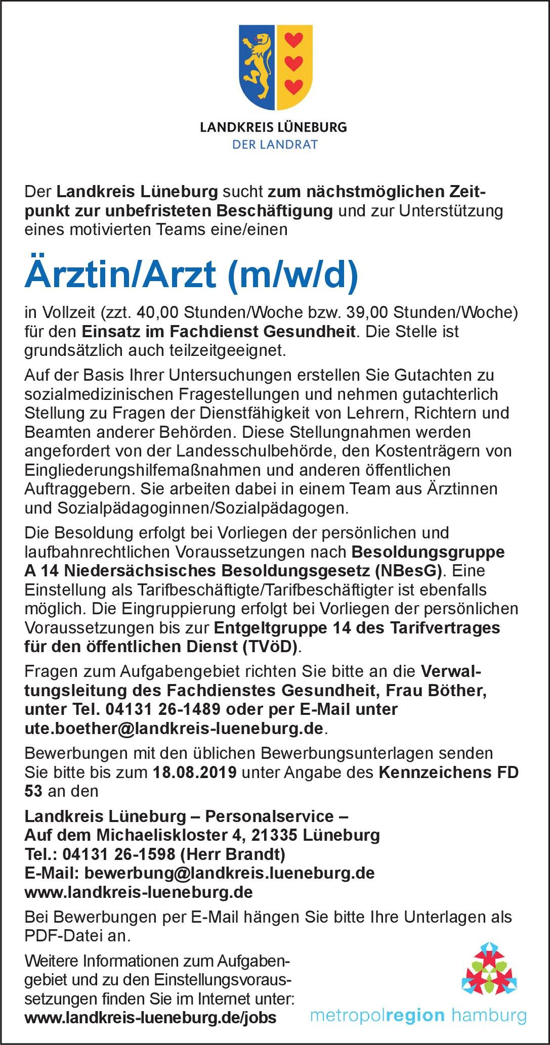 Landkreis Lüneburg Ärztin/Arzt (m/w/d) Fachdienst Gesundheit Öffentliches Gesundheitswesen Arzt / Facharzt