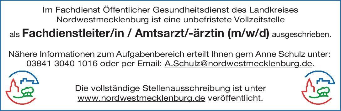 Landkreis Nordwestmecklenburg Fachdienstleiter/in Amtsarzt/-ärztin (m/w/d) Arbeitsmedizin Amtsarzt, Arzt / Facharzt