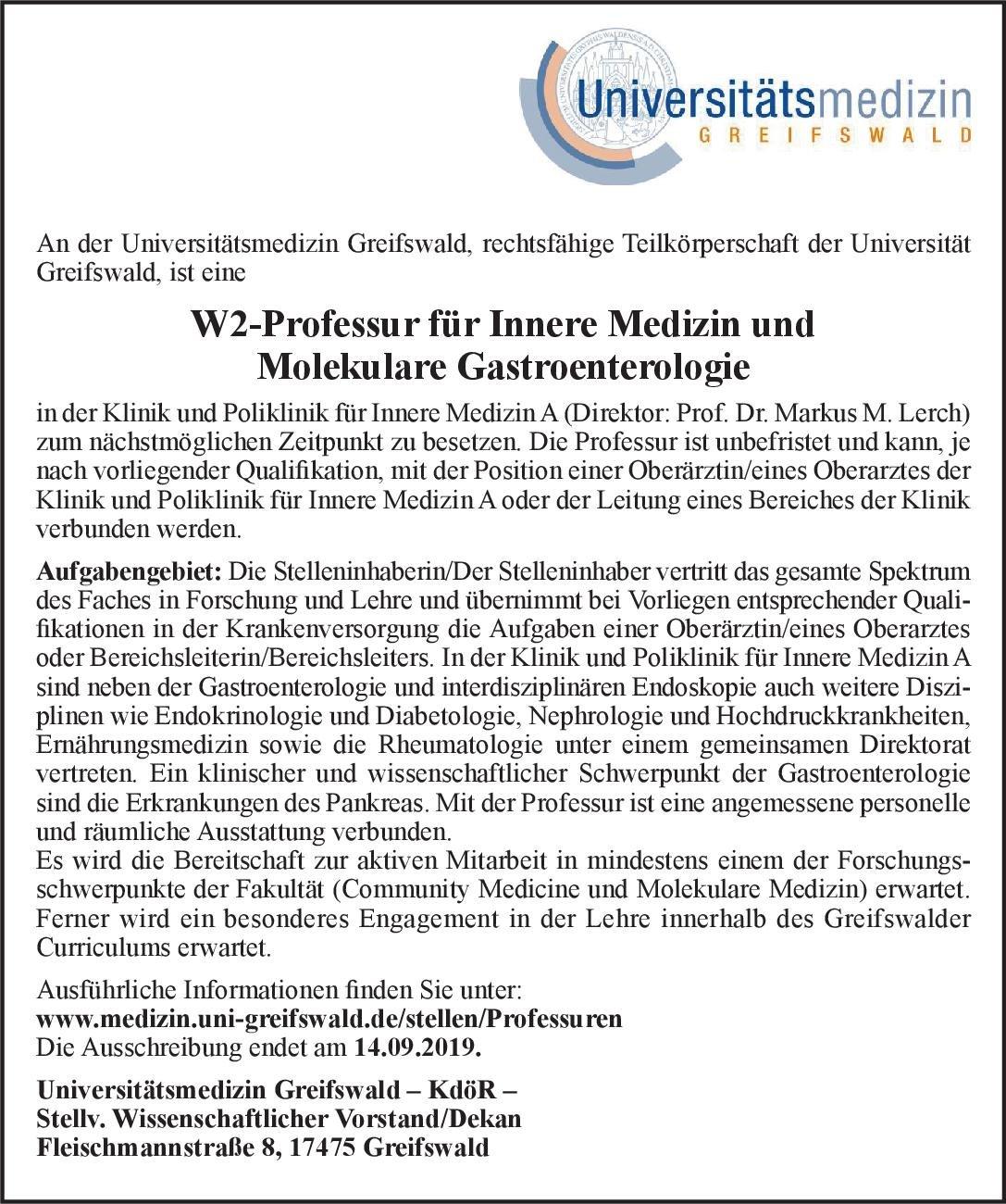 Universitätsmedizin Greifswald – KdöR – W2-Professur für Innere Medizin und Molekulare Gastroenterologie  Innere Medizin und Gastroenterologie, Innere Medizin Professor