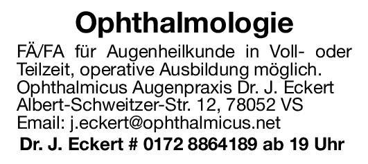 Augenpraxis Dr. J. Eckert Fachärztin/Facharzt   für Augenheilkunde Augenheilkunde Arzt / Facharzt