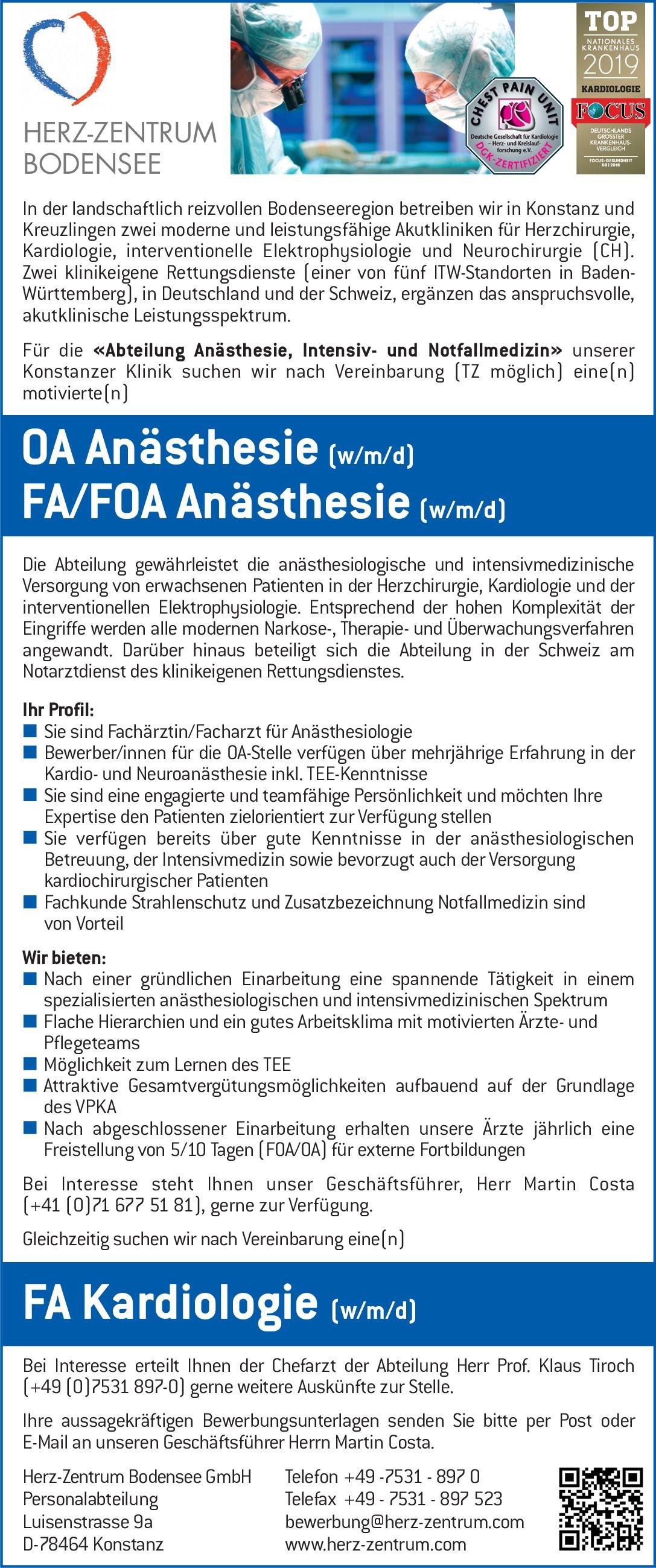 Herz-Zentrum Bodensee GmbH FA Kardiologie (w/m/d)  Innere Medizin und Kardiologie, Innere Medizin Arzt / Facharzt