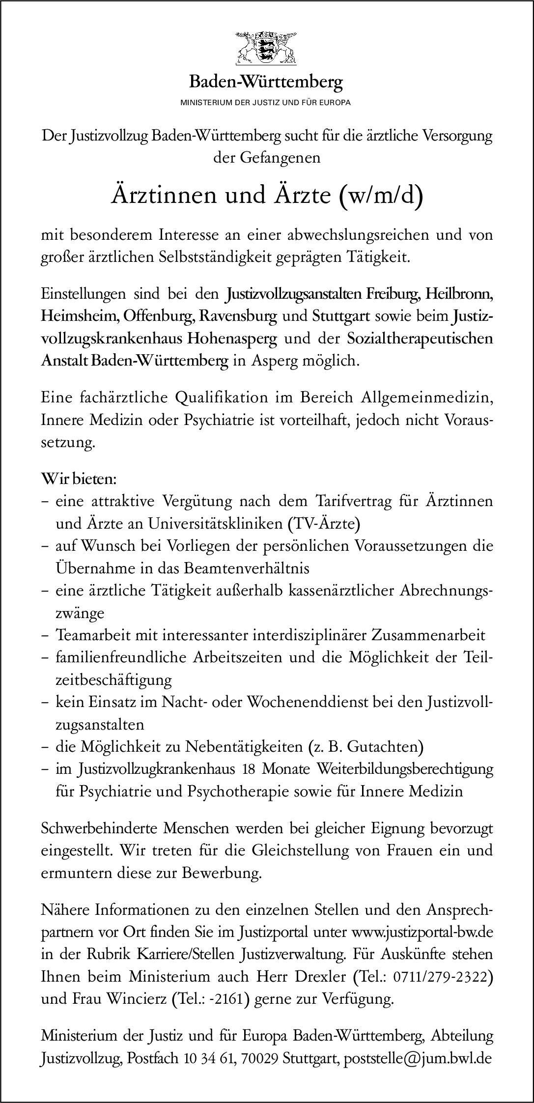Justizvollzug Baden-Württemberg Ärztinnen und Ärzte (w/m/d)  Innere Medizin, Psychiatrie und Psychotherapie, * andere Gebiete Arzt / Facharzt