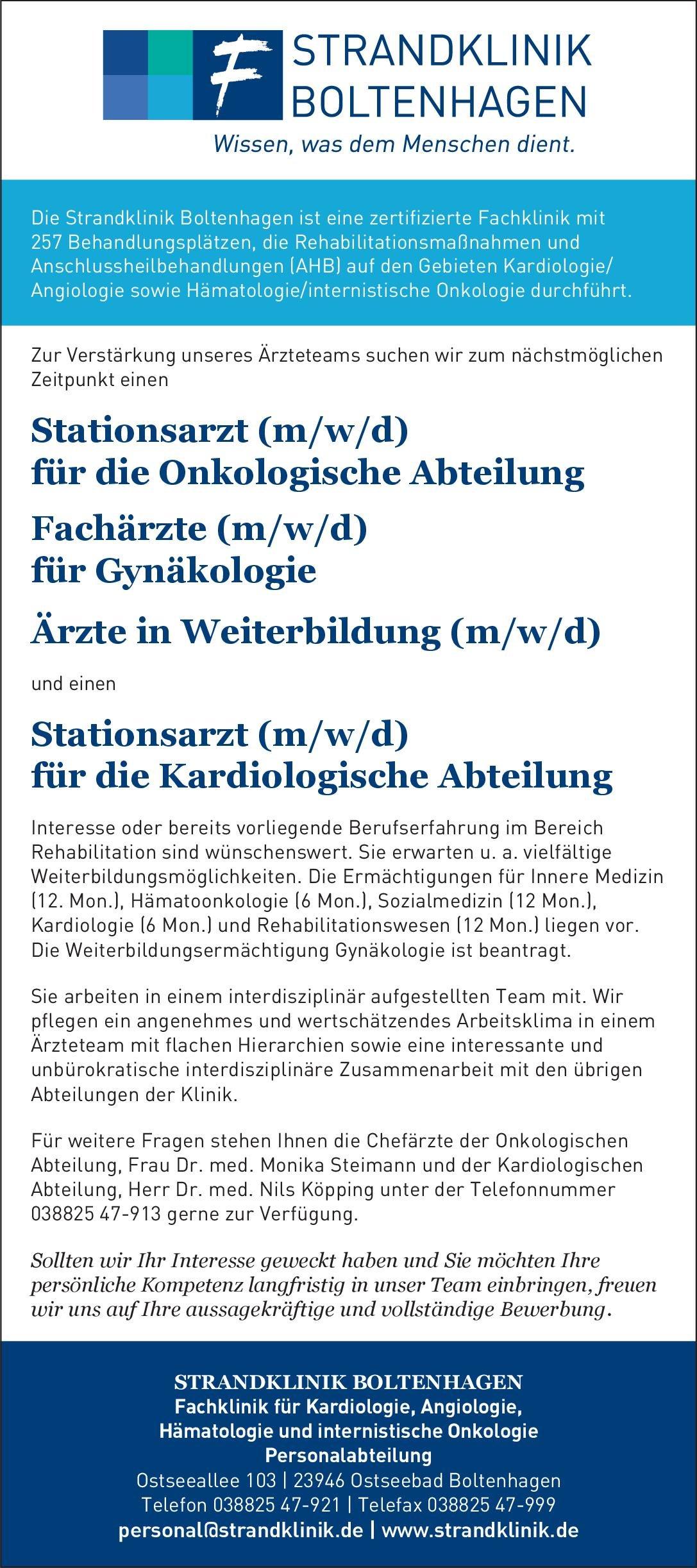 Strandklinik Boltenhagen Fachärzte (m/w/d) für Gynäkologie - Ärzte in Weiterbildung (m/w/d)  Frauenheilkunde und Geburtshilfe, Frauenheilkunde und Geburtshilfe Arzt / Facharzt, Assistenzarzt / Arzt in Weiterbildung