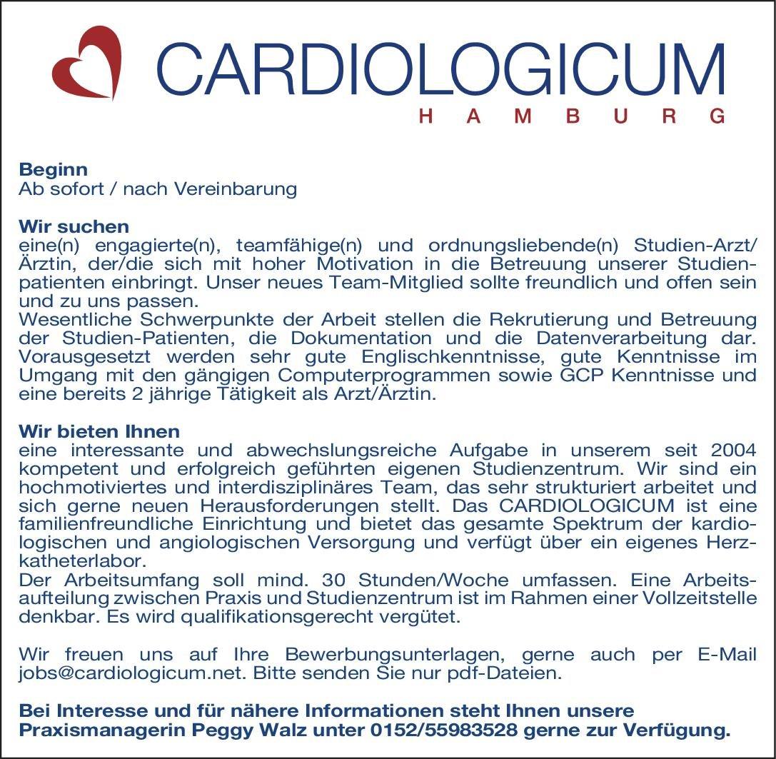 Cardiologicum Hamburg Studien-Arzt/Ärztin Kardiologie  Innere Medizin und Kardiologie Arzt / Facharzt