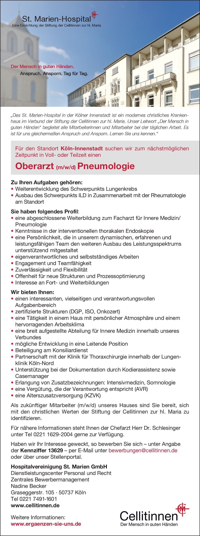 St. Marien-Hospital Oberarzt (m/w/d) Pneumologie  Innere Medizin und Pneumologie, Innere Medizin Oberarzt