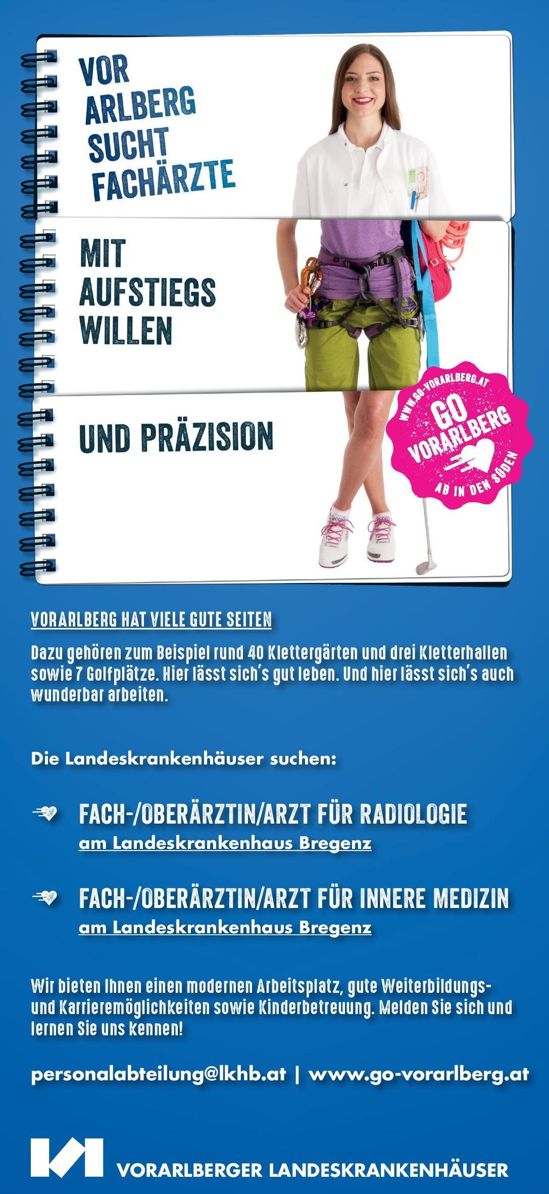 Landeskrankenhaus Bregenz Fach-/Oberärztin/arzt Innere Medizin  Innere Medizin, Innere Medizin Arzt / Facharzt, Oberarzt