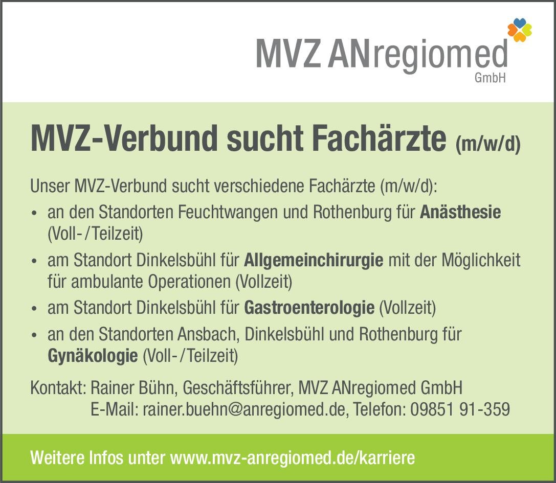 MVZ ANregiomed GmbH Fachärzte (m/w/d) Anästhesie Anästhesiologie / Intensivmedizin Arzt / Facharzt
