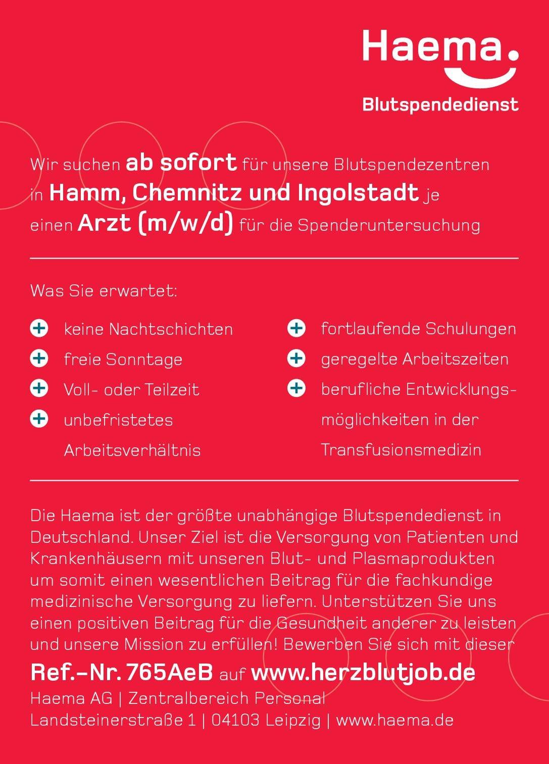 Haema AG Arzt (m/w/d) für Blutspendezentren * ohne Gebiete Arzt / Facharzt