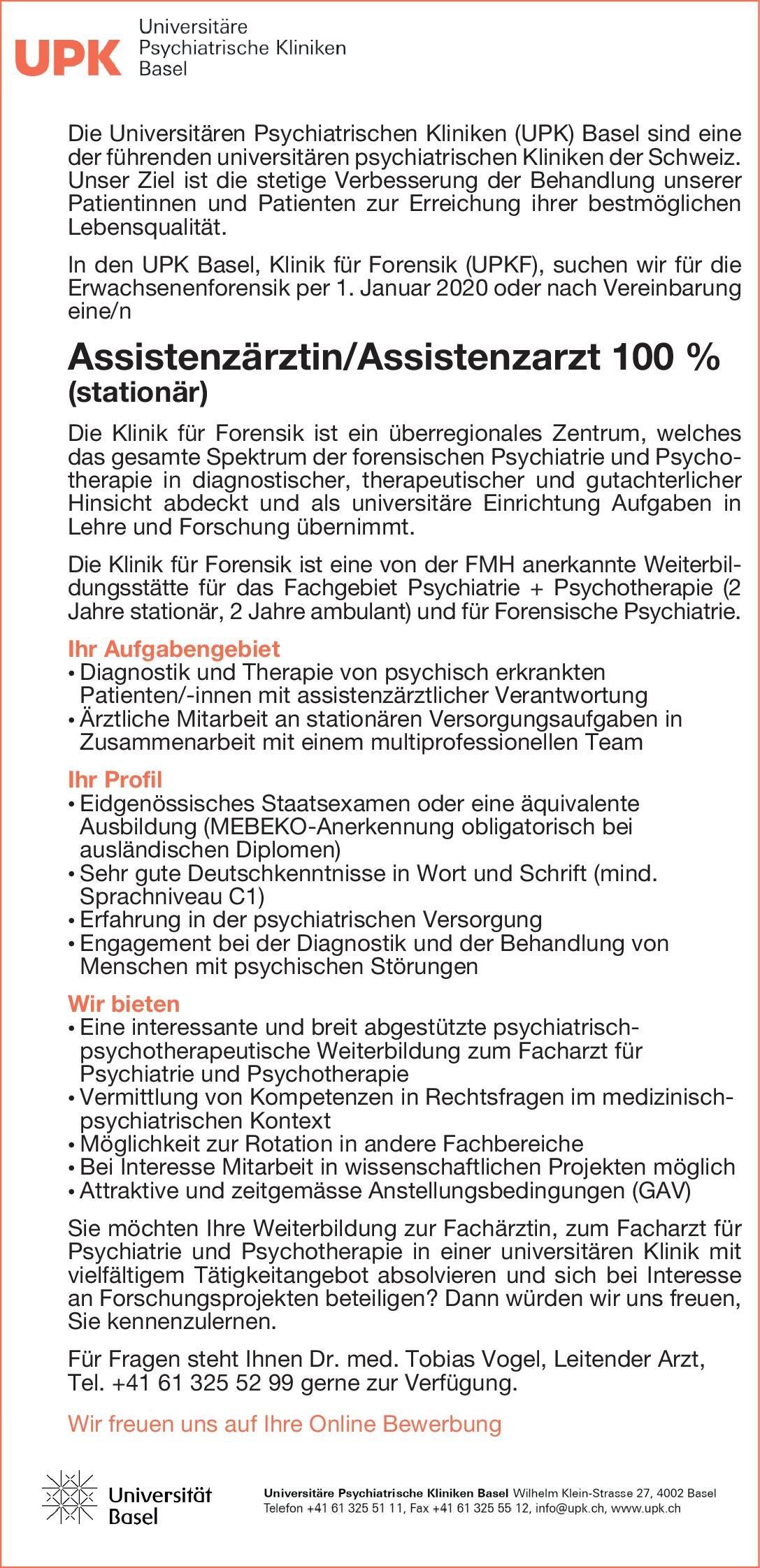 UPK Universitäre Psychiatrische Kliniken Basel Assistenzärztin/Assistenzarzt 100 % (stationär)  Psychiatrie und Psychotherapie, Psychiatrie und Psychotherapie Assistenzarzt / Arzt in Weiterbildung