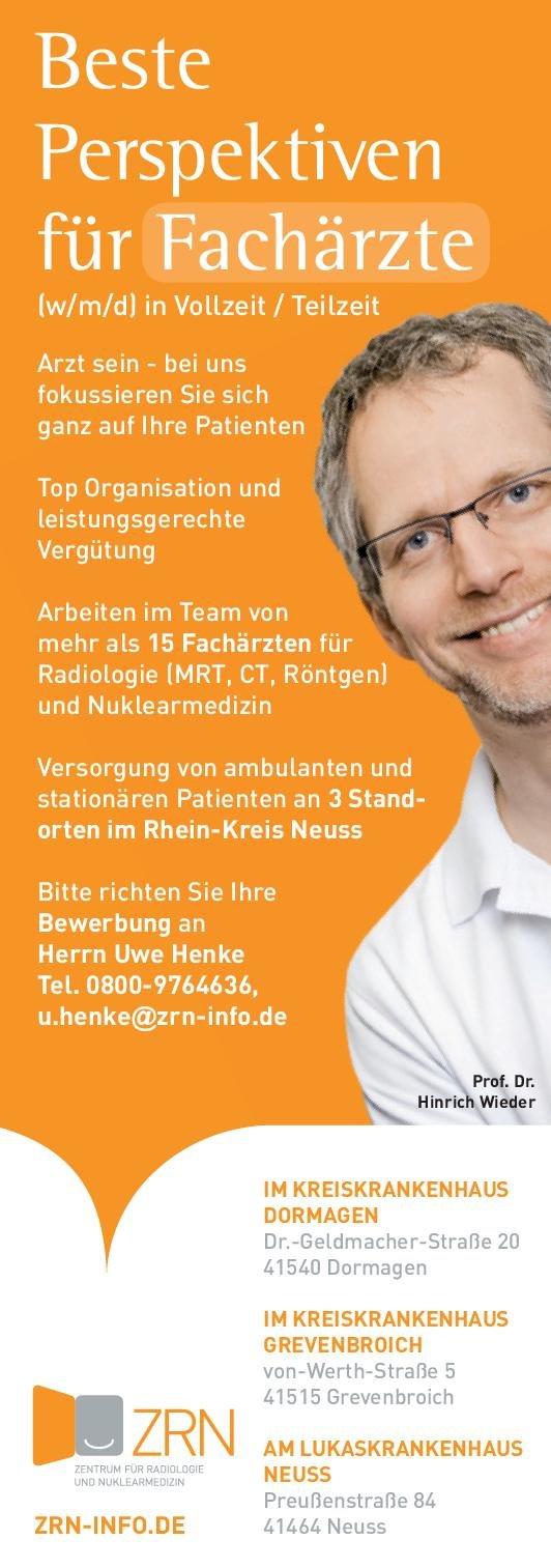 ZRN Zentrum für Radiologie und Nuklearmedizin Fachärzte (m/w/d)  Radiologie, Nuklearmedizin, Radiologie Arzt / Facharzt