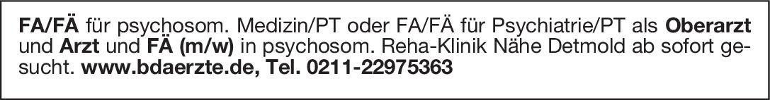 Reha-Klinik Arzt und FÄ (m/w) für psychosom. Medizin/PT Psychosomatische Medizin und Psychotherapie Arzt / Facharzt