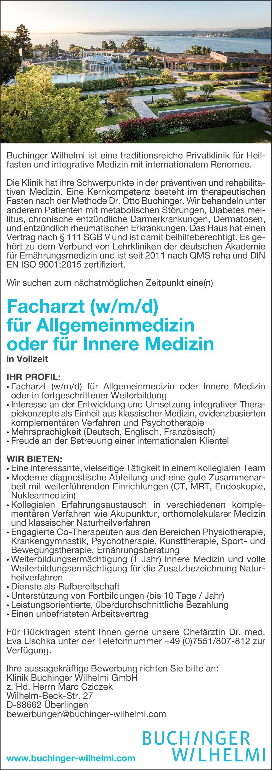 Klinik Buchinger Wilhelmi GmbH Facharzt (w/m/d) für Allgemeinmedizin oder für Innere Medizin  Innere Medizin, Allgemeinmedizin, Innere Medizin Arzt / Facharzt