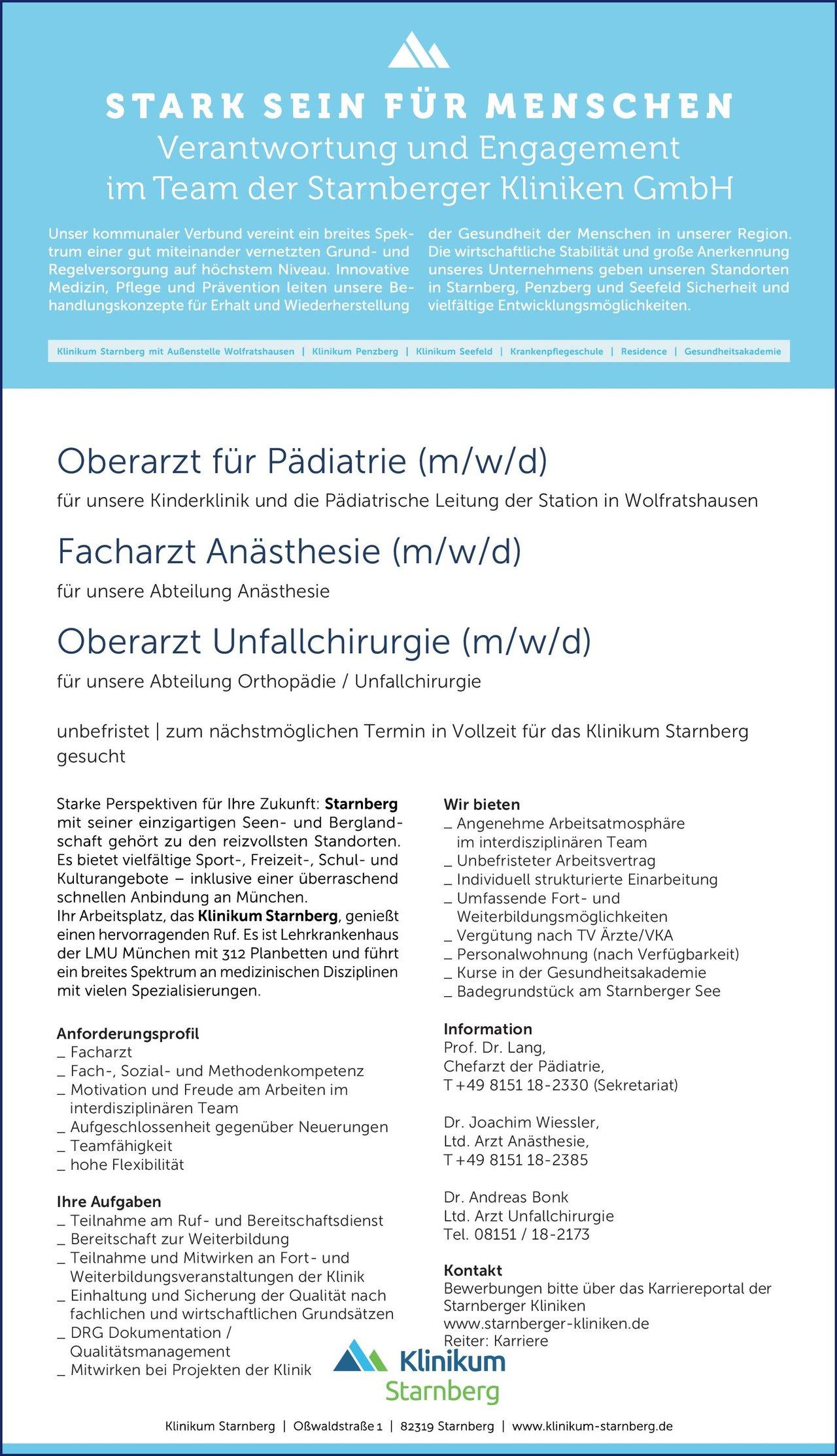 Klinikum Starnberg Oberarzt für Pädiatrie (m/w/d)  Kinder- und Jugendmedizin, Kinder- und Jugendmedizin Oberarzt