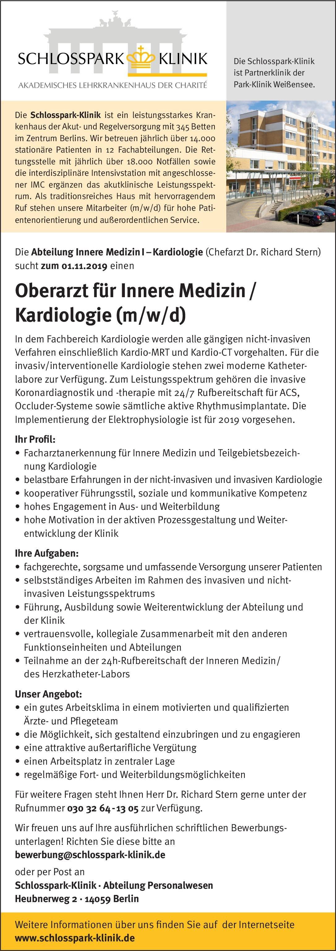 Schlosspark-Klinik Oberarzt für Innere Medizin/Kardiologie (m/w/d)  Innere Medizin und Kardiologie, Innere Medizin Oberarzt