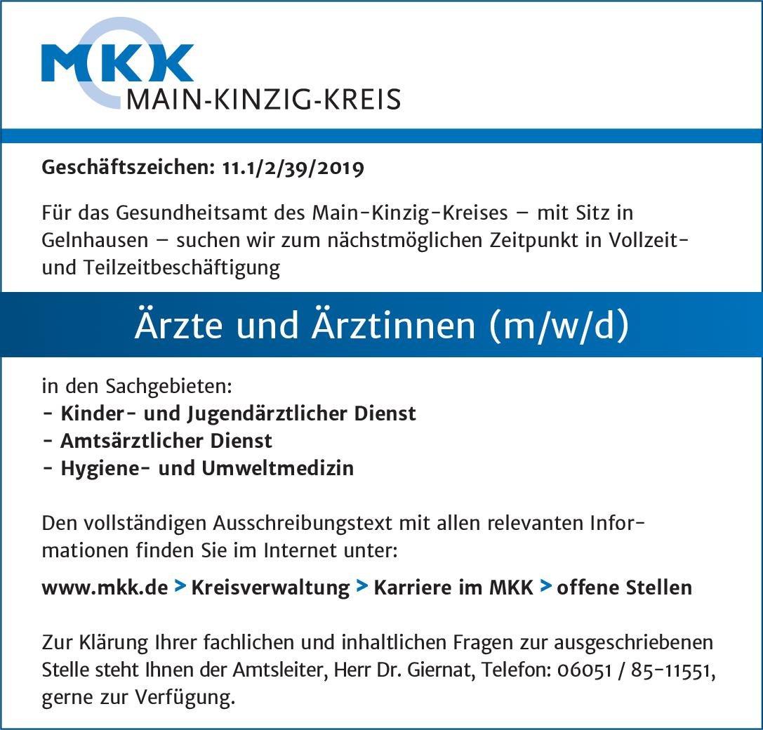 MKK Main-Kinzig-Kreis Ärzte und Ärztinnen (m/w/d) Kinder- und Jugendmedizin Arzt / Facharzt