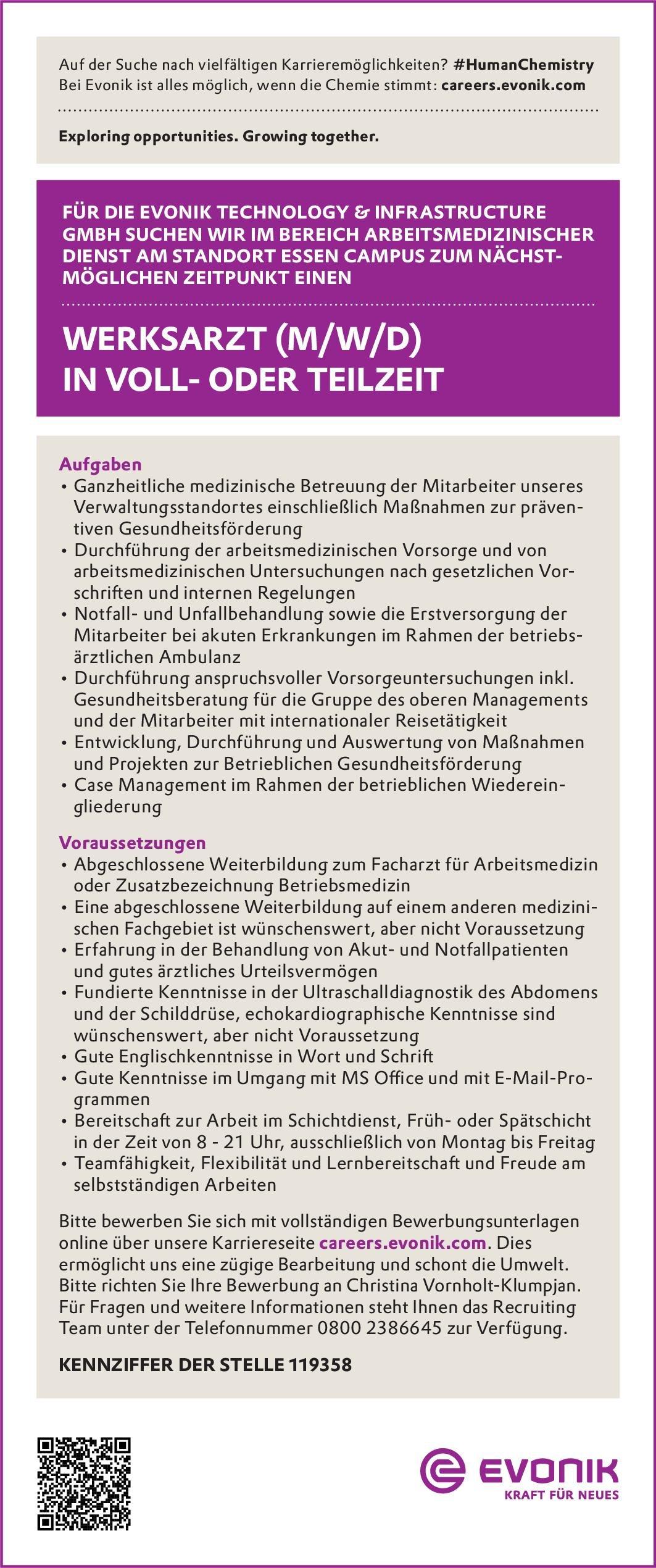 EVONIK TECHNOLOGY & INFRASTRUCTURE GMBH Werksarzt (m/w/d) Arbeitsmedizin Arzt / Facharzt, Betriebsarzt