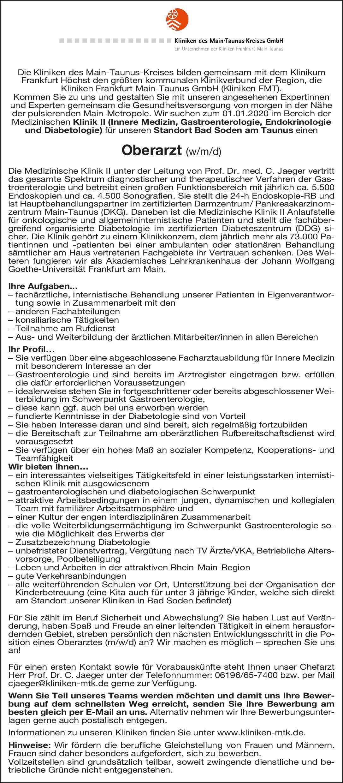 Kliniken des Main-Taunus-Kreises GmbH Oberarzt (m/w/d) Innere Medizin  Innere Medizin und Endokrinologie und Diabetologie, Innere Medizin und Gastroenterologie, Innere Medizin Oberarzt