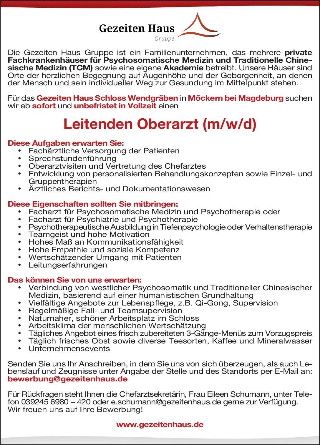 Gezeiten Haus Schloss Wendgräben Leitender Oberarzt  (m/w/d) Psychosomatische Medizin und Psychotherapie Psychosomatische Medizin und Psychotherapie Assistenzarzt / Arzt in Weiterbildung