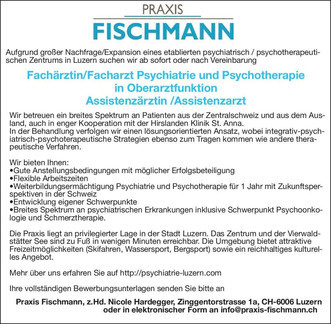 Praxis Fischmann Assistenzärztin /Assistenzarzt Psychiatrie und Psychotherapie  Psychiatrie und Psychotherapie, Psychiatrie und Psychotherapie Assistenzarzt / Arzt in Weiterbildung