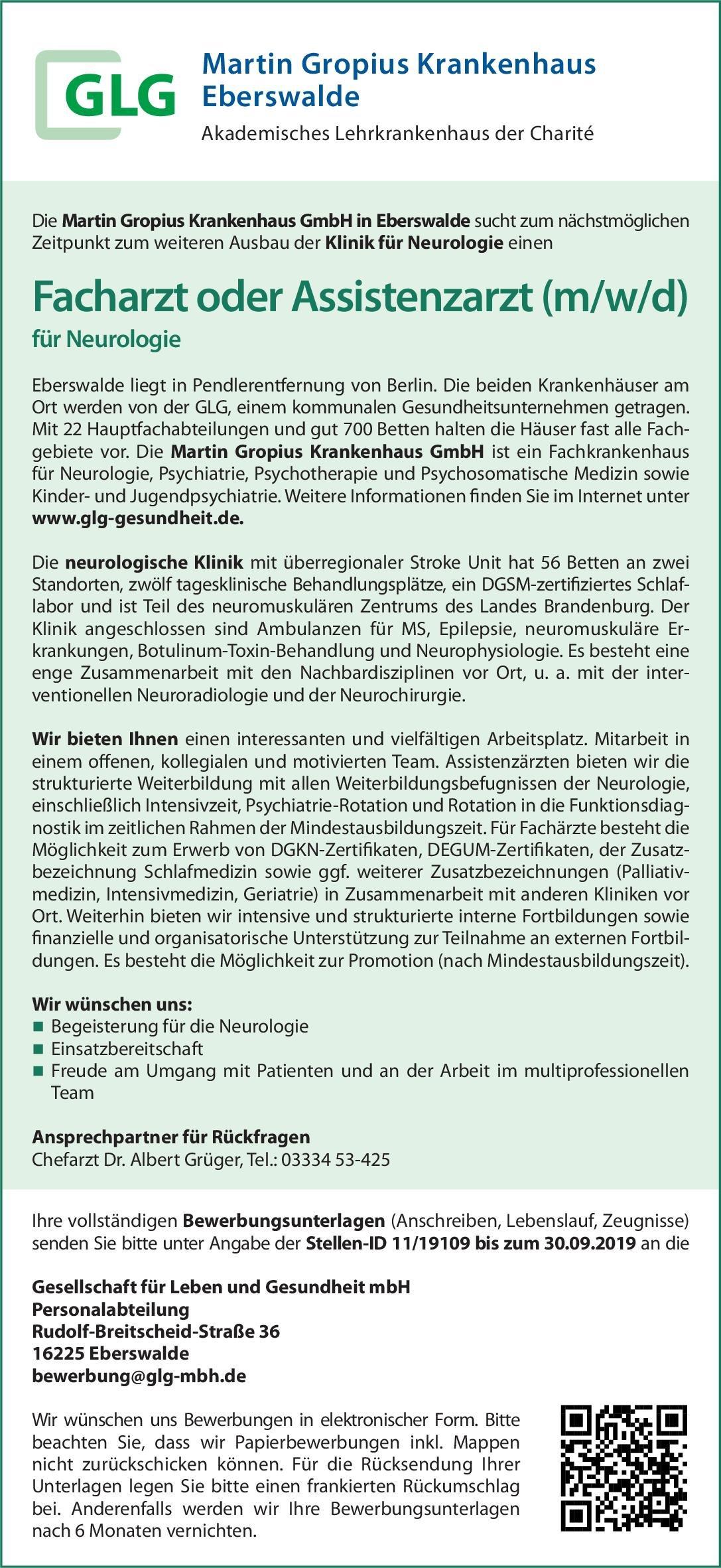 Martin Gropius Krankenhaus GmbH Facharzt oder Assistenzarzt (m/w/d) für Neurologie Neurologie Arzt / Facharzt, Assistenzarzt / Arzt in Weiterbildung