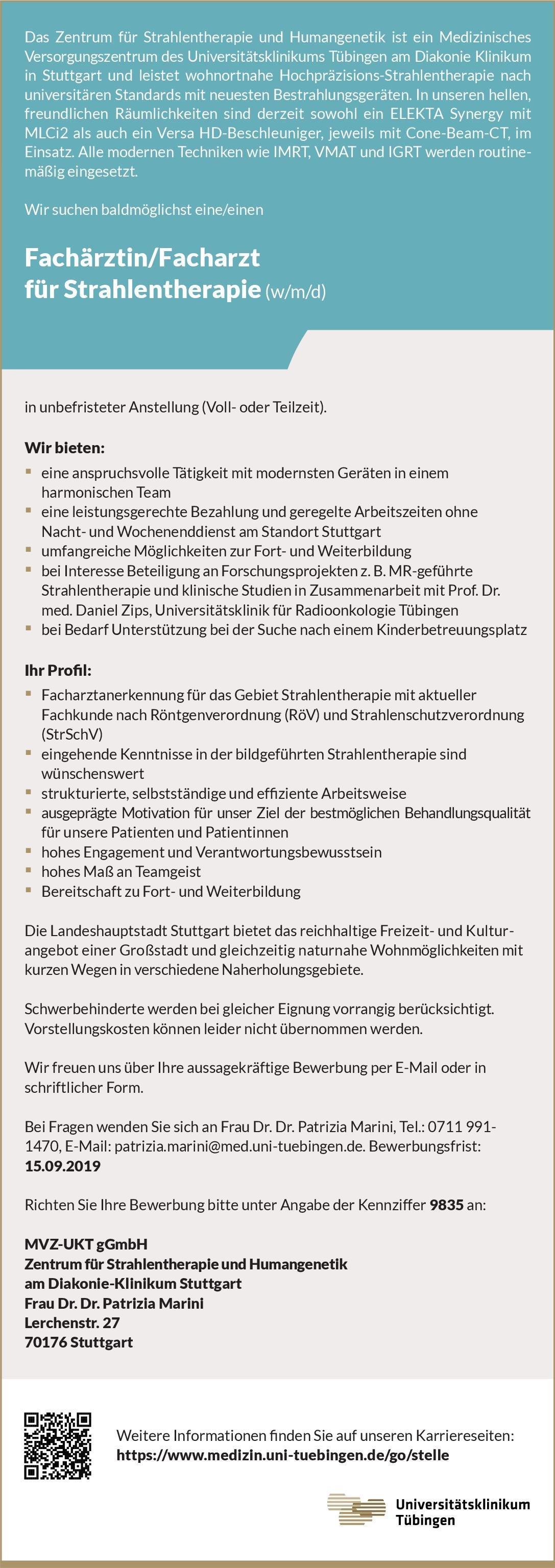Diakonie-Klinikum Stuttgart Fachärztin/Facharzt für Strahlentherapie (w/m/d) Strahlentherapie Arzt / Facharzt