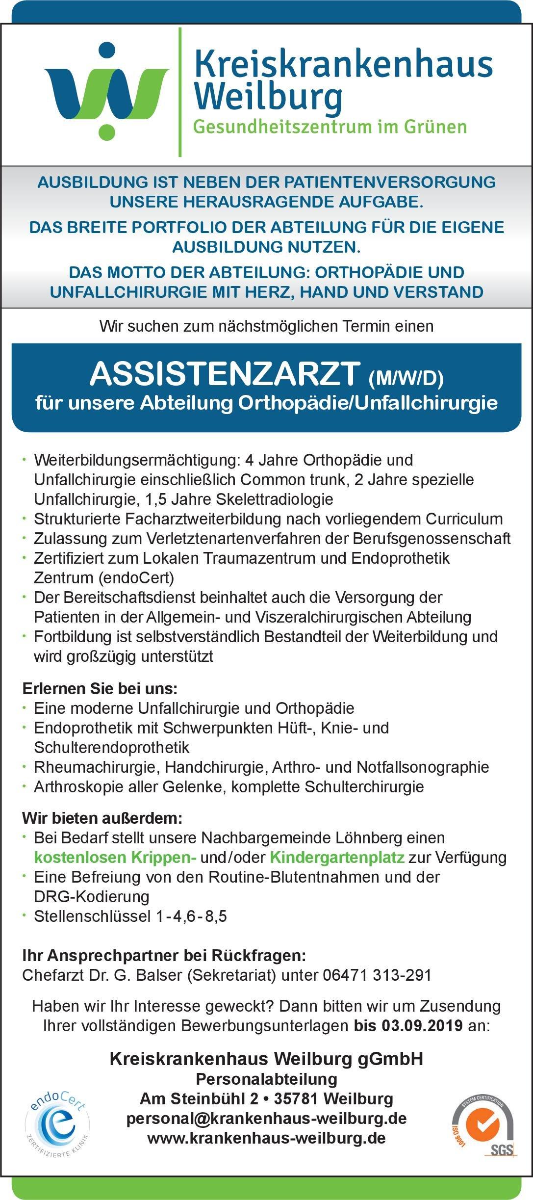 Kreiskrankenhaus Weilburg gGmbH Assistenzarzt (m/w/d) Orthopädie/Unfallchirurgie  Orthopädie und Unfallchirurgie, Chirurgie Assistenzarzt / Arzt in Weiterbildung