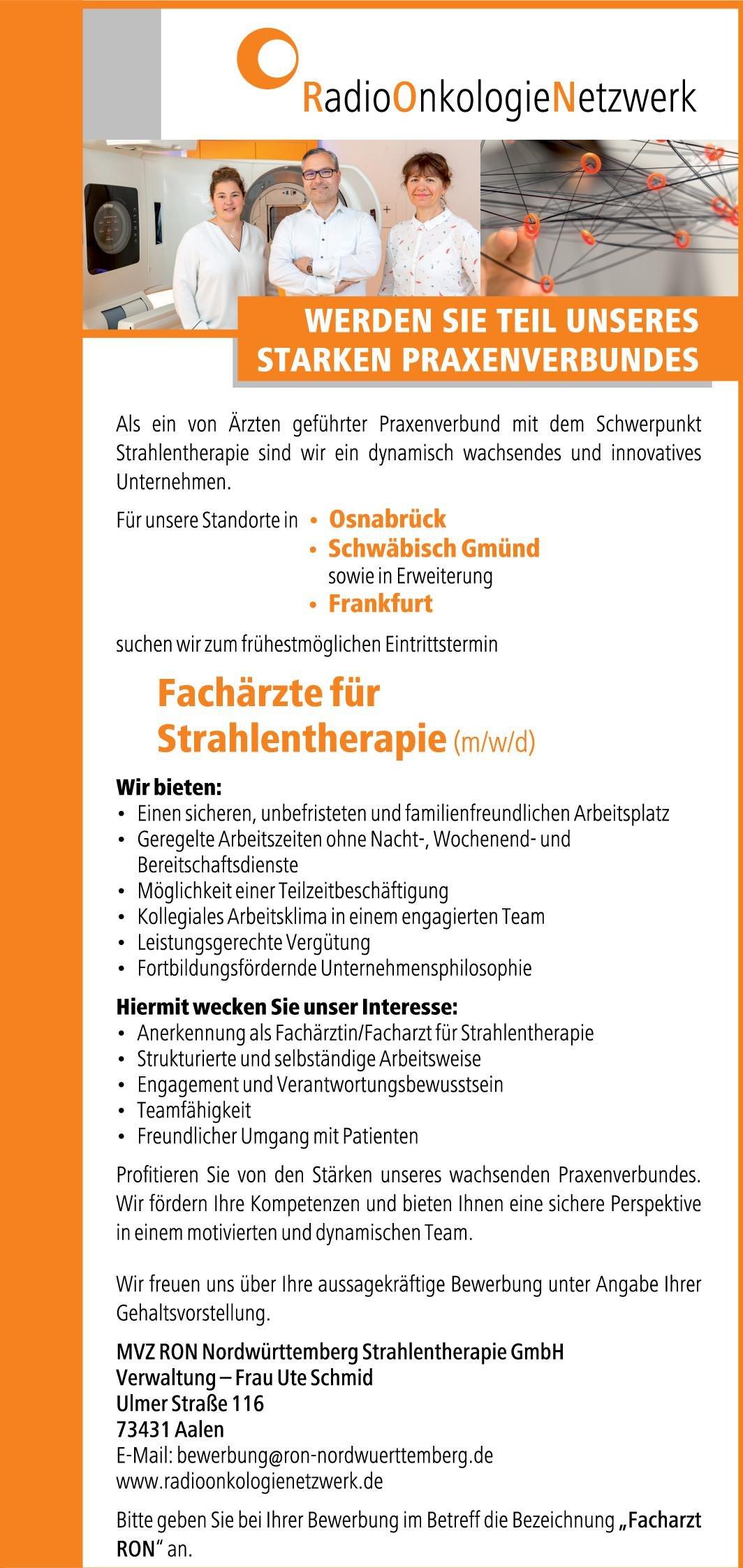 MVZ RON Nürdwürttemberg Strahlentherapie GmbH Fachärztinnen/Fachärzte für Strahlentherapie (m/w/d) Strahlentherapie Arzt / Facharzt