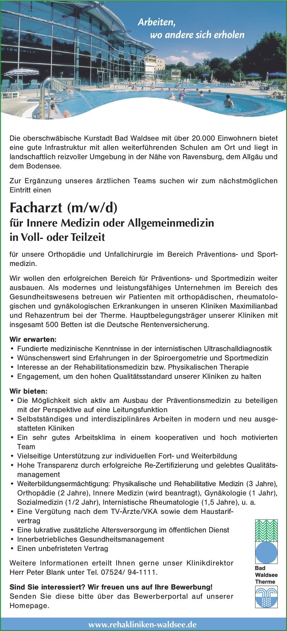 Städtische Rehakliniken Bad Waldsee Facharzt (m/w/d) für Innere Medizin oder Allgemeinmedizin  Innere Medizin, Allgemeinmedizin, Innere Medizin Arzt / Facharzt