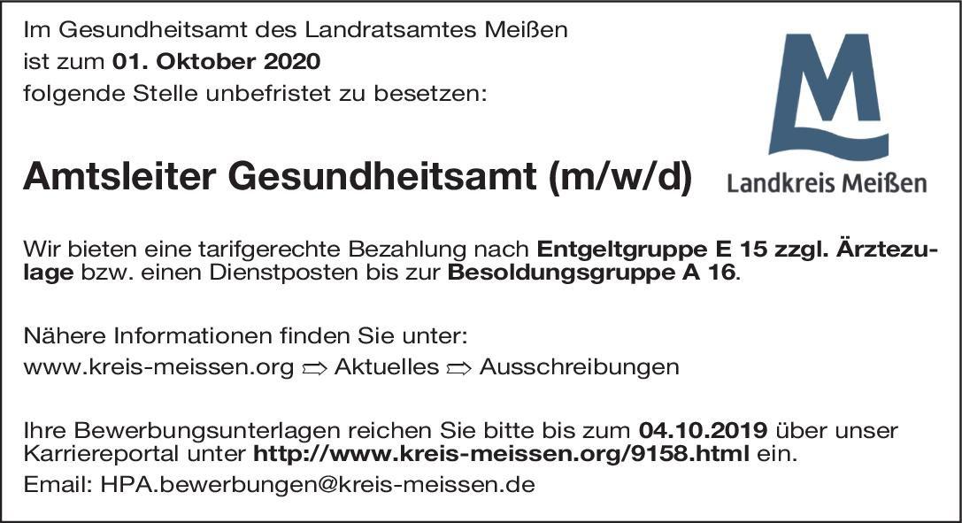 Gesundheitsamt des Landratsamtes Meißen Amtsleiter Gesundheitsamt (m/w/d) * ohne Gebiete Amtsarzt