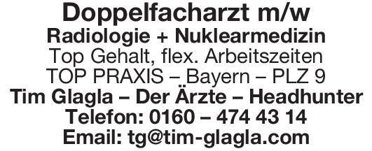 Tim Glagla – Der Ärzte – Headhunter Doppelfacharzt m/w Radiologie + Nuklearmedizin  Radiologie, Nuklearmedizin, Radiologie Arzt / Facharzt, Oberarzt