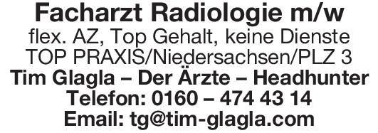 Tim Glagla – Der Ärzte – Headhunter Facharzt Radiologie m/w  Radiologie, Radiologie Arzt / Facharzt, Oberarzt