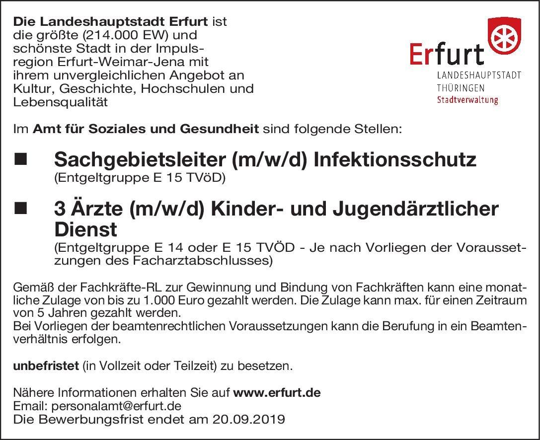 Landeshauptstadt Erfurt - Amt für Soziales und Gesundheit Ärzte (m/w/d) Kinder- und Jugendärztlicher Dienst  Kinder- und Jugendmedizin, Kinder- und Jugendmedizin Arzt / Facharzt
